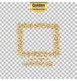 Gold glitter icon of monitor isolated on vector image