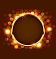 gold shiny vintage circle border on bright vector image vector image