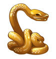 golden figure of snake chinese horoscope symbol vector image