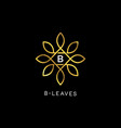 golden floral leaves initial letter type b logo vector image vector image