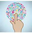 Hand clicking social icon Concept EPS10 vector image vector image