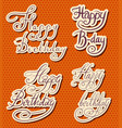 happy birthday text hand drawn lettering vector image