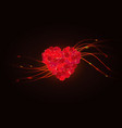 heart made from red rose petals isolated on dark vector image vector image