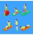 Isometric People Exercising at the Gym vector image vector image