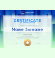 modern certificate template with blue background vector image vector image