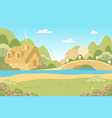 nature landscape with fairy tale gingerbread house vector image vector image