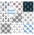 nautical seamless pattern set navy anchor vector image