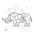 polygonal rhino on abstract background vector image vector image