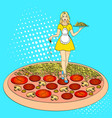 pop art process of cooking pizza comic book style vector image vector image