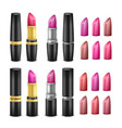 realistic lipstick set black gold and vector image