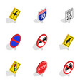 road sign icons isometric 3d style vector image vector image