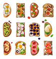 sandwiches cartoon set vector image