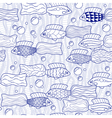 Seamless pattern with hand drawn fishes vector image