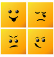 set smiling icon on yellow background creative vector image