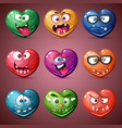 set valentine heart love vector image vector image