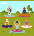 set with beautiful women in lotus pose of yoga vector image vector image