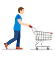 shopping man with a cart vector image vector image