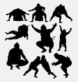 Sumo japanese sport male silhouette vector image vector image