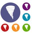 tornado icons set vector image vector image