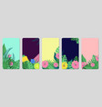 tropical banners exotic leaves fruits social vector image vector image