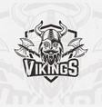 viking in horned helmet sport team emblem vector image