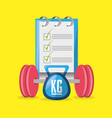 weights and weighing mashine with tips to carry vector image vector image