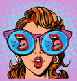 woman with sunglasses screaming mouth in the vector image