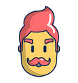 hipster man face icon cartoon style vector image