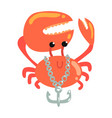 funny cartoon crab with anchor chain colorful vector image