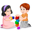 children playing with cube vector image