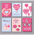 a set postcards for valentines day hand drawn vector image vector image