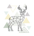 abstract scandinavian geometric deer polygonal vector image vector image
