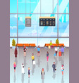 airport interior with passangers crowd walking to vector image vector image