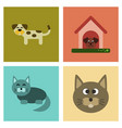 assembly flat icons dog cats pets vector image vector image