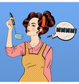 attractive woman cooking in kitchen vector image vector image