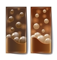 Banners with dark chocolate texture vector image