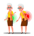 bent over old woman from back ache sciatica vector image vector image