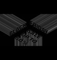 black friday sale 3d dynamic typography banner vector image