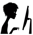Black silhouette of a watching person with a vector image