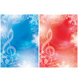 blue and red flyers with music notes vector image vector image