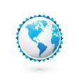 blue globe world map america vector image