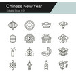 chinese new year icons modern line design vector image