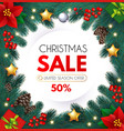 christmas sale design flyer template with fir tree vector image