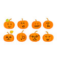 collection of funny halloween pumpkins vector image