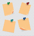 colored sticky notes paper with push pin vector image