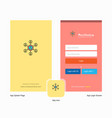 company network splash screen and login page vector image vector image
