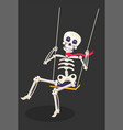 creepy skeleton sitting and swinging on a rope vector image vector image