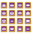 crown gold icons set purple square vector image vector image