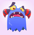 cute angry cartoon monster with horns vector image