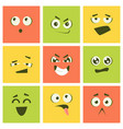 cute kawaii emoticons set colorful emoji squares vector image vector image